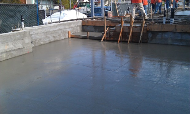 Concrete slab work at 3512 Marcus Avenue